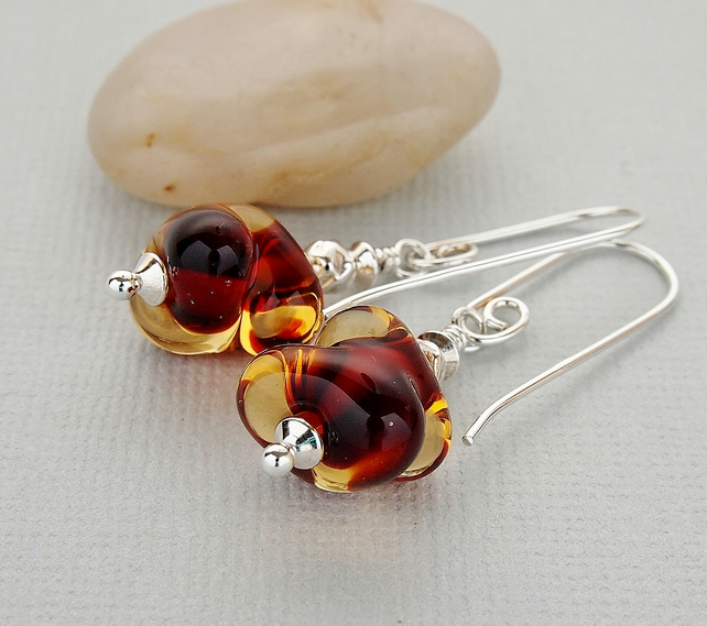 Amber Brown Lampwork Glass Bead Earrings, Sterling Silver