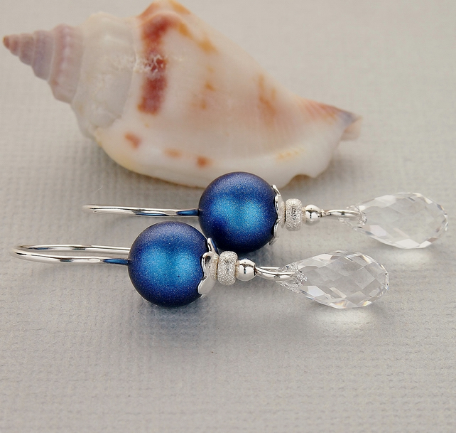 Iridescent Blue Pearl Earrings, Swarovski Earrings, Sterling Silver Earrings