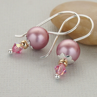 Pink Pearl Earrings - Swarovski Crystal - Sterling Silver