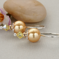 Yellow Pearl Earrings - Sterling Silver - Gold