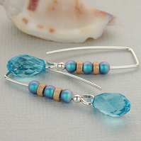 Aqua Crystal Threader Earrings - Swarovski Pearl - Sterling Silver