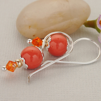 Orange Pearl Sterling Silver Bead Earrings