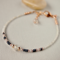 Moonstone Bracelet - Delicate Beaded Gemstone Bracelet Navy White Rose Gold