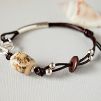 Brown Leather Bracelet - Lampwork Glass Bead -  Sterling Silver