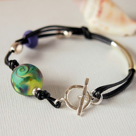 Lampwork Glass Leather Beaded Bracelet -  Sterling Silver