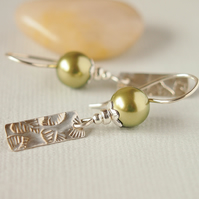 Green Pearl Earrings with Sterling Silver Leaf Print Drop