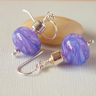 Lavender Blue Lampwork Glass Bead Earrings, Greek Ceramic, Sterling Silver