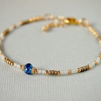 Gemstone Beaded Bracelet - Blue Kyanite  - Moonstone Bracelet - Gold Filled
