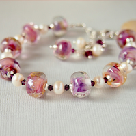 Pink Lampwork and Freshwater Pearl Beaded Bracelet - Sterling Silver