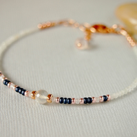 Moonstone Bracelet - Beaded Gemstone Bracelet - Navy White - Rose Gold