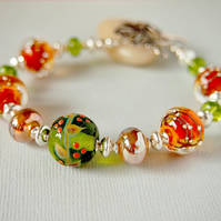 Lampwork Bracelet - Glass Bead Bracelet - Autumn Colours - Sterling Silver