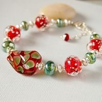 Lampwork Glass Bracelet - Beaded Bracelet - Red - Green - Sterling Silver