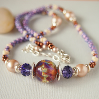 Beaded Necklace - Lampwork Glass - Mauve - Amber - Sterling Silver