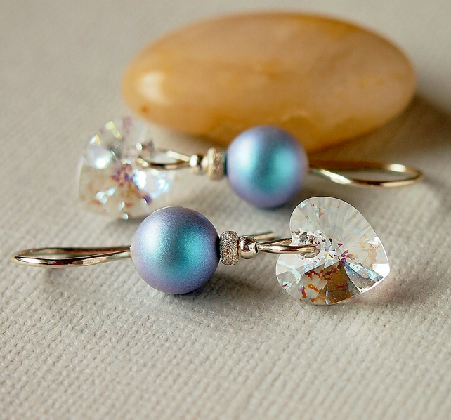 Blue Pearl Earrings - Heart Earrings - Swarovski Crystal - Sterling Silver