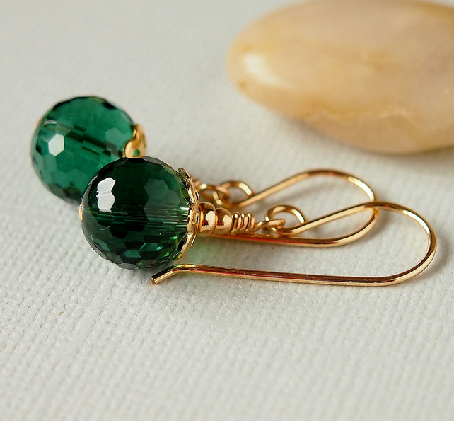 Green Amethyst Earrings - Gemstone Earrings - Gold Earrings