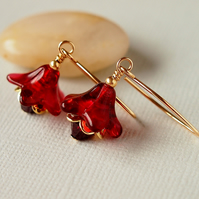 Red Flower Glass Bead Earrings - Gold Filled