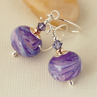 Lavender Lampwork Glass Bead Earrings - Sterling Silver