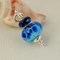 Blue Glass Pendant - Lampwork - Necklace - Sterling Silver