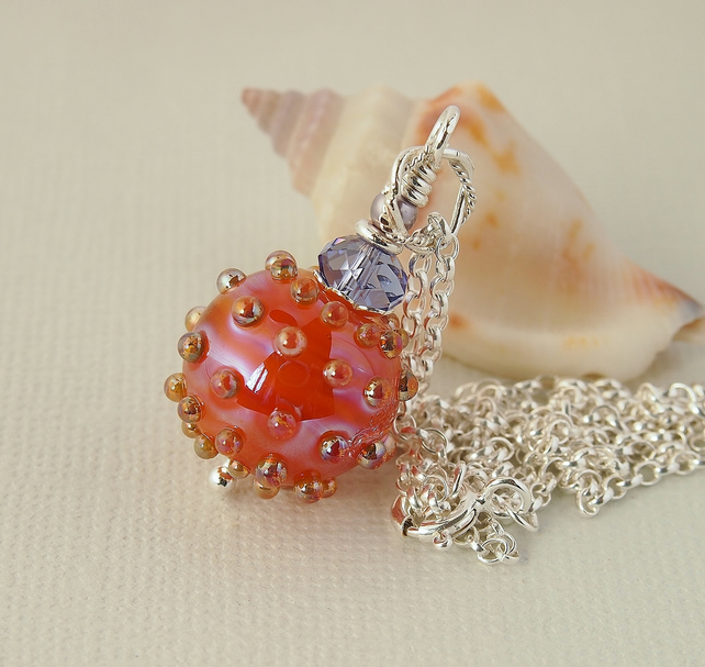 Orange Pink and Mauve Lustre Glass Bead Pendant - Sterling Silver