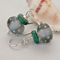Blue Grey Lampwork Glass Polka Dot Sterling Silver Earrings