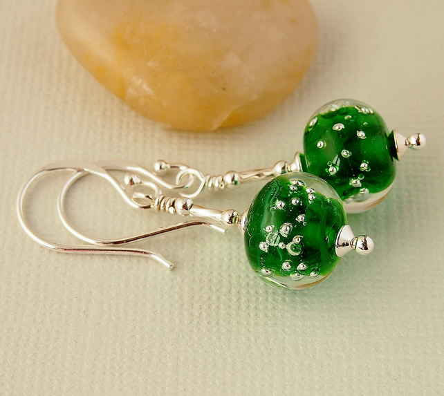 Green Lampwork Glass Bead Earrings - Sterling Silver