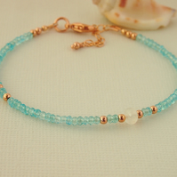 Aqua Apatite Gemstone Bead Bracelet - Blue Green - Rose Gold
