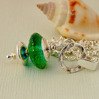Turquoise Green Lampwork Glass  Pendant - Sterling Silver