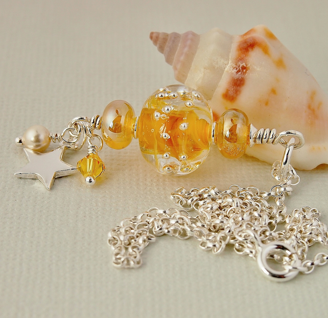 Golden Yellow Lampwork Glass Pendant - Necklace - Sterling Silver