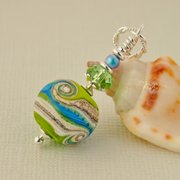 Blue and Green Sterling Silver Glass Bead Pendant