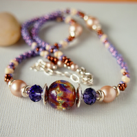 Beaded Glass Necklace - Mauve - Amber - Sterling Silver
