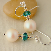 White Pearl Earrings - Teal - Sterling Silver