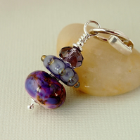 Purple Artisan Lampwork Glass Pendant - Sterling Silver