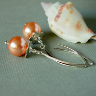Peach Pearl Earrings -  Sterling Silver