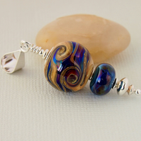 Dark Blue Glass Pendant - Lampwork - Necklace - Sterling Silver