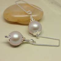 Silver Grey Pearl Earrings - Sterling Silver