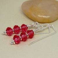 Pink Crystal Glass Drop Earrings  - Sterling Silver