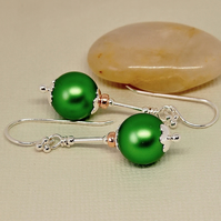 Emerald Green Pearl Earrings - Sterling Silver
