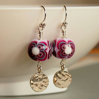 Pink Glass Earrings - Lampwork Glass Earrings - Sterling Silver