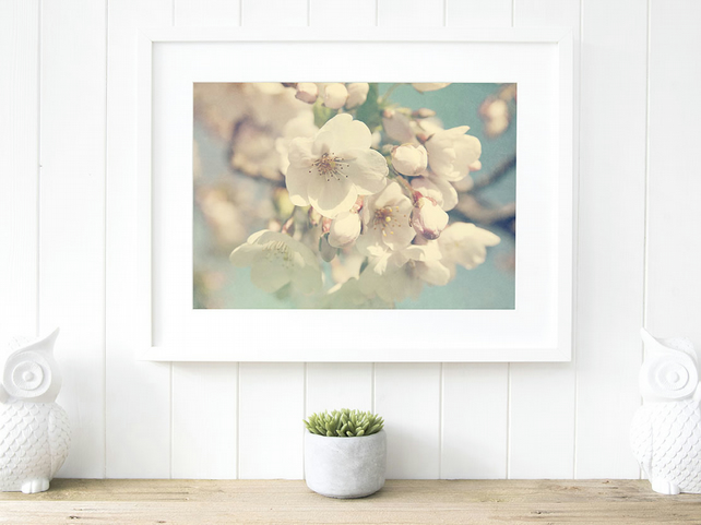 Spring blossom print, blossom wall art, blue and cream print
