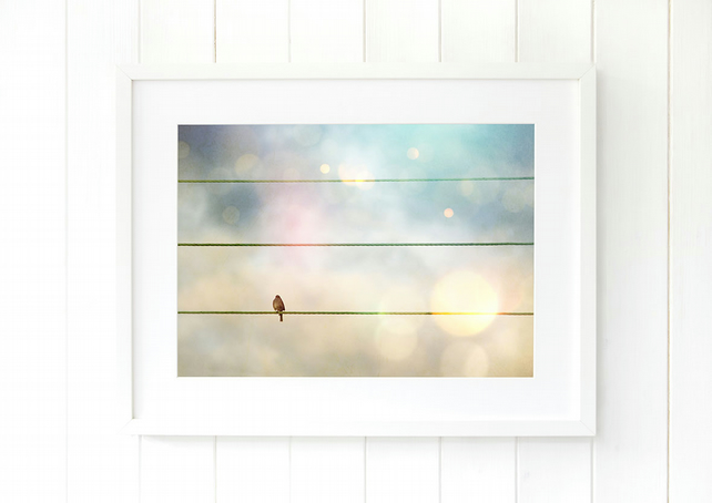 Bird on a wire print, pastel wall art, dreamy art print