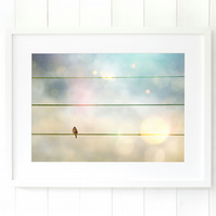 Bird on a wire print, pastel bedroom wall art, dreamy nursery art bird gift
