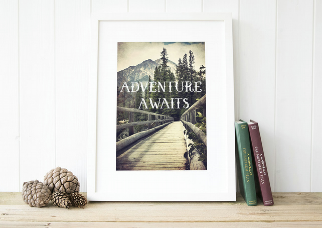 Adventure print, Mountain wall art, Canadian Rockies travel gift for him