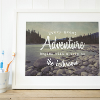 Toilet art adventure print, Bathroom wall art rustic mountain print