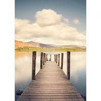 Lake district print, lake jetty wall art, Ashness Jetty