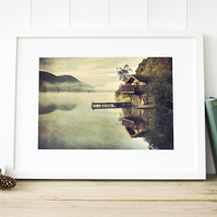 Reflection at Ullswater Boathouse, Pooley Bridge, Lake District art print