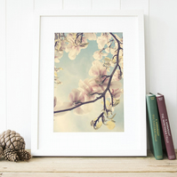 Magnolia photography, botanical print, floral art, bedroom wall art