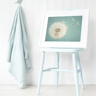 Dreamy nursery print - Make a wish wall art - Duck egg blue dandelion art print