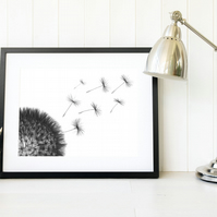 Dandelion seeds wall art, dandelion clock monochrome art print