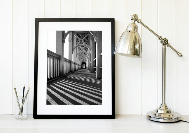 Newcastle High Level Bridge black and white art print, North East photography UK