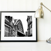 Tyne Bridge Photograph, Monochrome wall art, Newcastle upon Tyne